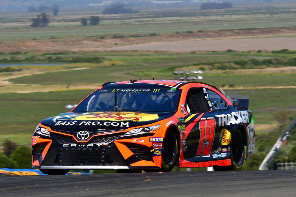 Martin Truex Jr. en route to his win in the 2019 Toyota Save Mart 350, the last NASCAR race held at Sonoma Raceway until the one scheduled for June 6, 2021. (N. Jacobson/Sonoma Raceway)
