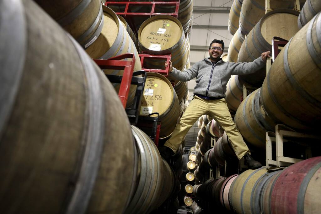 Hardy Wallace of Dirty and Rowdy Family Wines at Sugarloaf Crush facility in Santa Rosa on Thursday, December 12, 2019. (BETH SCHLANKER/ The Press Democrat)