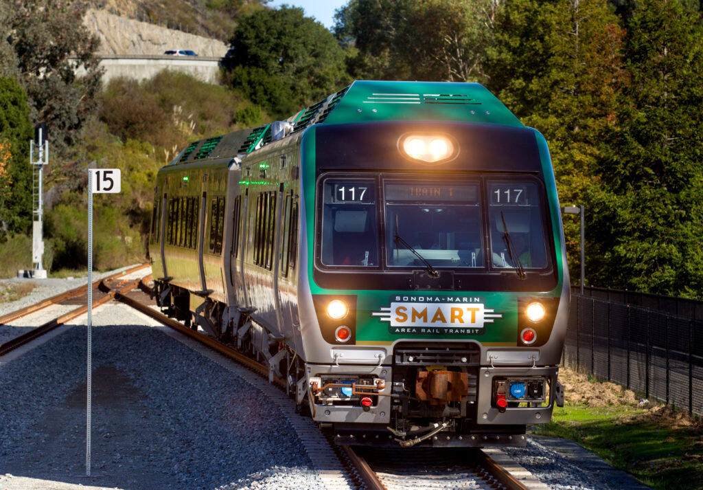 A SMART train arrives going southbound at the newly opened Larkspur SMART Train Station on its inaugural ride to Larkspur, on Saturday, Dec. 14, 2019. (Darryl Bush / For The Press Democrat)