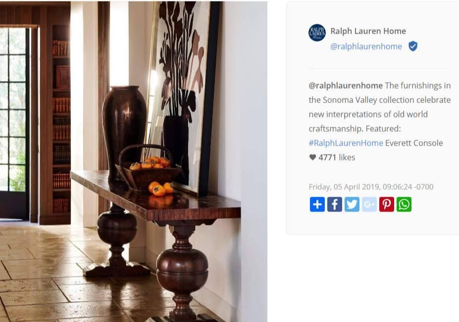 A Ralph Lauren Instagram post from last month.