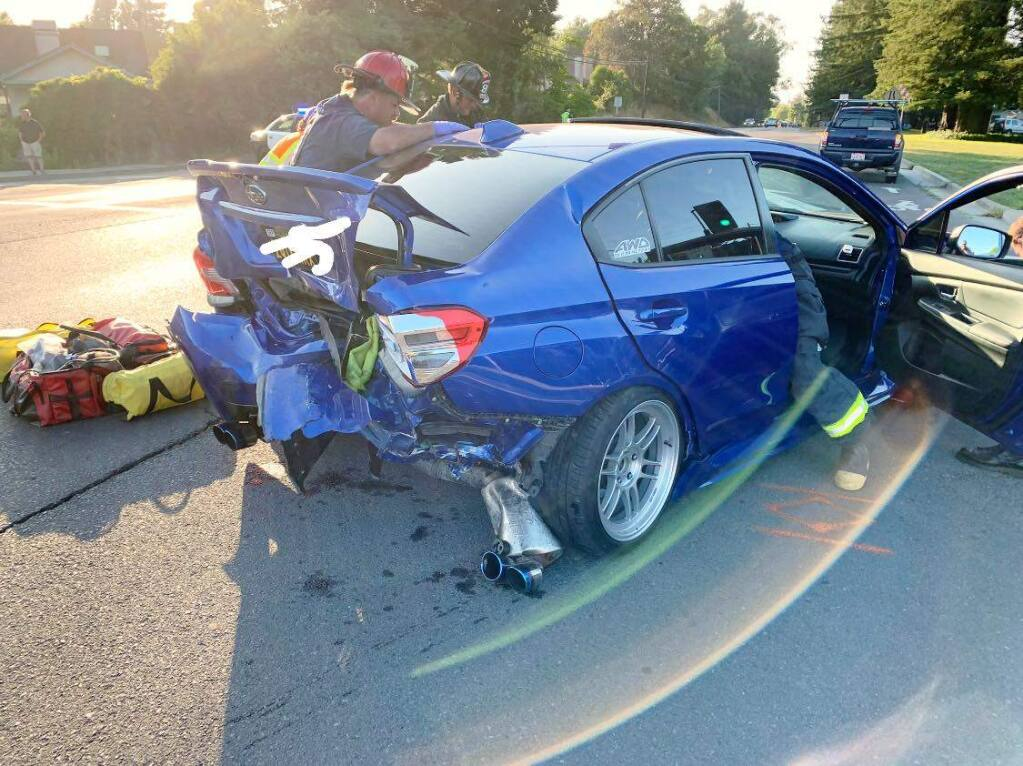 Two people were injured after a suspected drunken driver in a Porsche hit another vehicle, pushing it into traffic and causing a three-car crash at Old Redwood Highway and Valparaiso Avenue in Cotati on Sunday, July 7, 2019. (COTATI POLICE DEPARTMENT/ FACEBOOK)