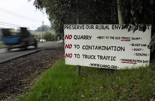 Dozens of anti-quarry signs lined the length of Roblar Road in 2010. (JOHN BURGESS/ PD FILE)