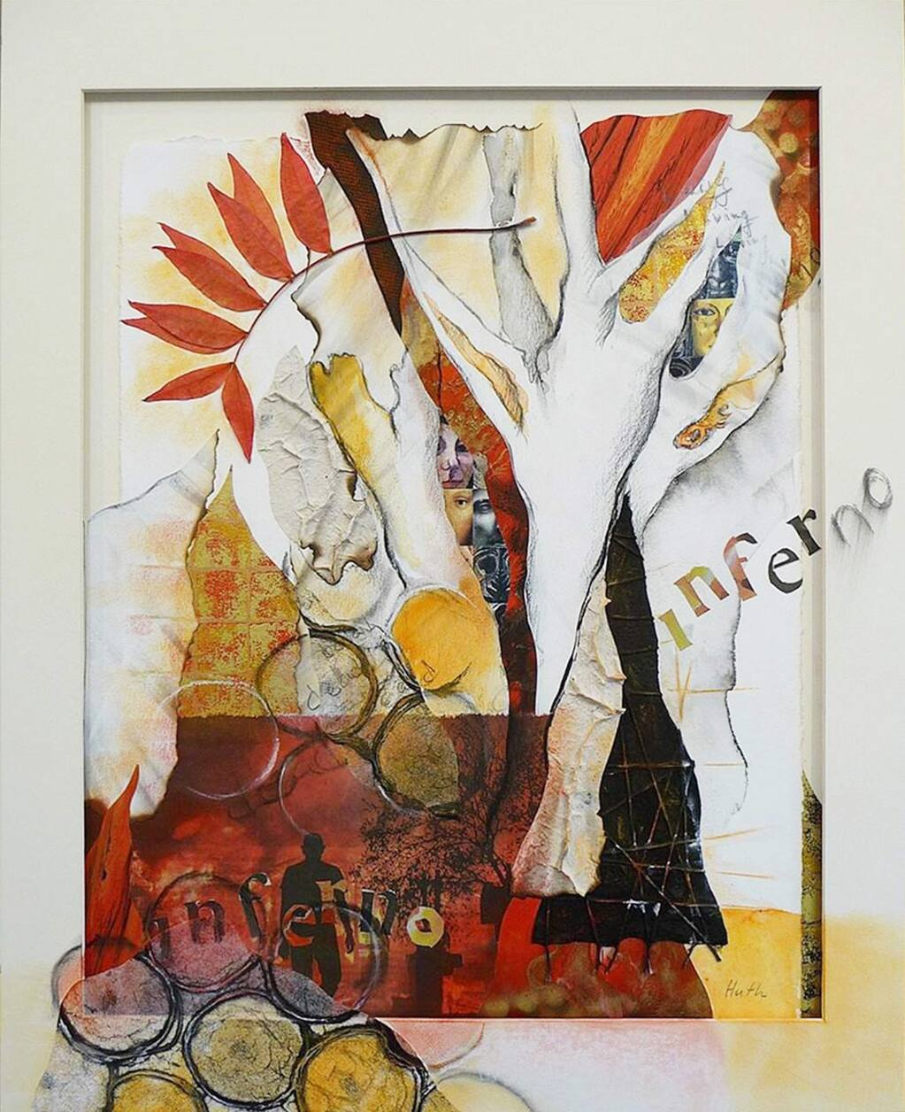 Collage by Gerald Huth, a Forestville artist. Visual Arts: Mixed, Painting, Sculpture;