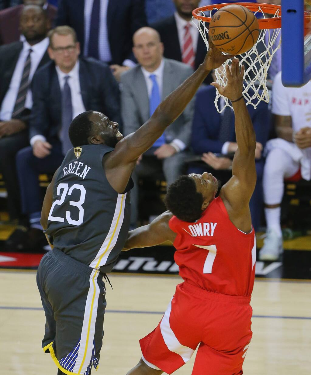 Golden State Warriors forward Draymond Green blocks a shot attempt by Toronto Raptors guard Kyle Lowry during Game 4 of the NBA Finals in Oakland on Friday, June 7, 2019. (Christopher Chung / The Press Democrat)