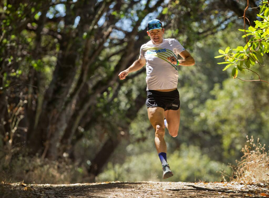 Windsor Middle School math teacher Bob Shebest will compete in the Western States 100 this weekend. Shebest trains in Shiloh Ranch Regional Park because the terrain elevation changes are similar to the 100 mile sierra course. (photo by John Burgess/The Press Democrat)