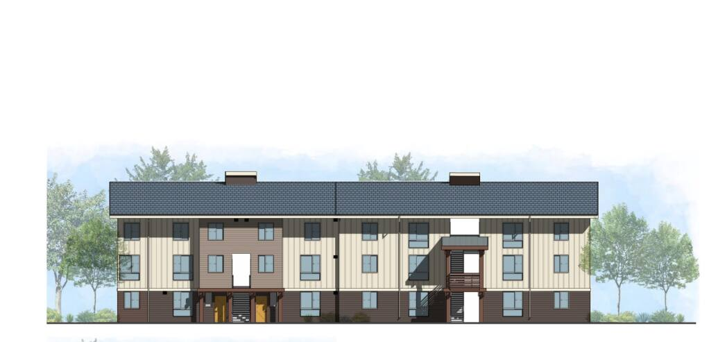 This rendering shows a planned 54-unit housing development for Kashia tribal members at 10221 Old Redwood Highway.