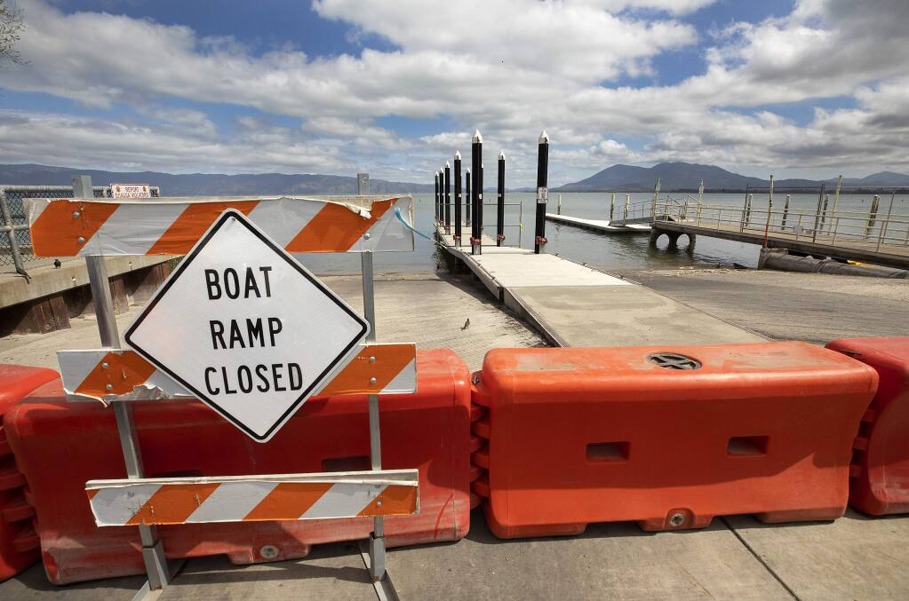 Lake County officials closed all the boat docks, including the 3rd Street dock at Library Park in Lakeport, on Sunday, March 22, 2020. (John Burgess/The Press Democrat)