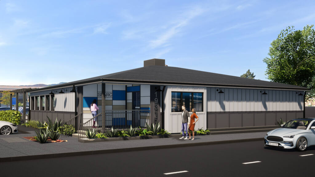 Final architect's rendering of the proposed exterior for the Sparc dispensary at 19315 Sonoma Highway, Sonoma. It is due to open in late 2021 or early 2022. (Schwartz Architecture)