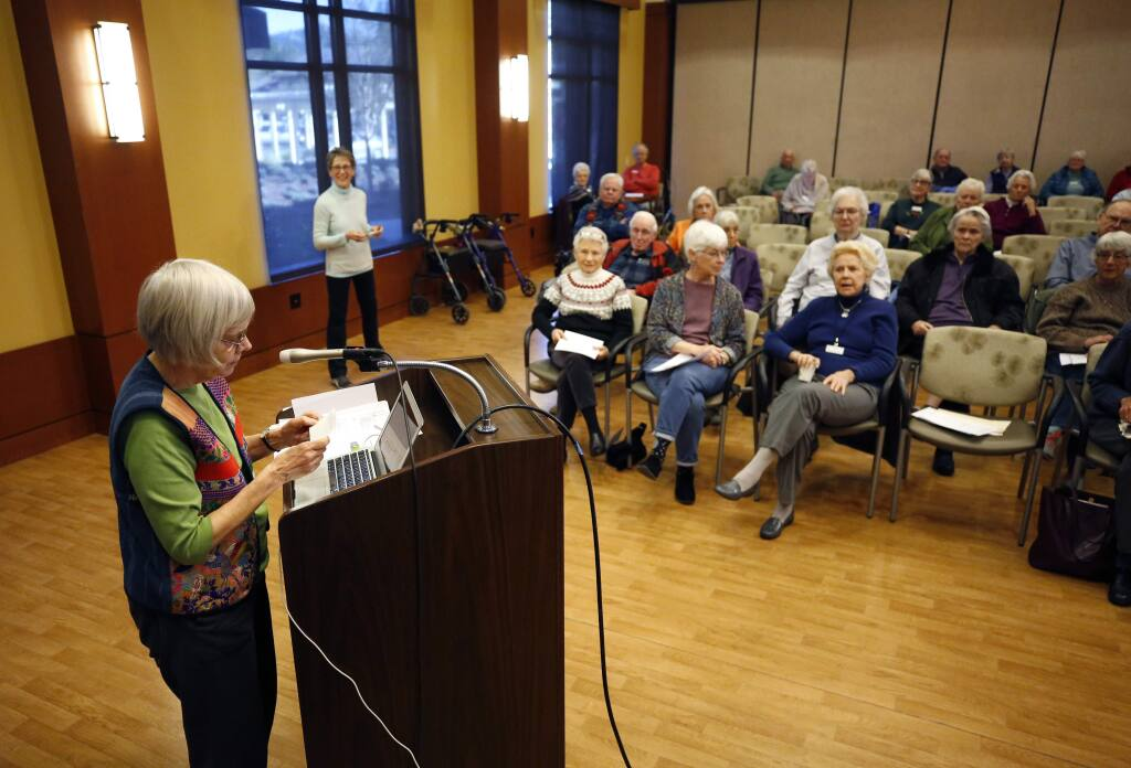 Leona Judson speaks about upcoming ballot measures including Measure I, a 30-year extension of the quarter-cent sales tax for SMART, during a forum hosted by the League of Women Voters at Spring Lake Village in Santa Rosa on Monday, February 3, 2020. (BETH SCHLANKER/ The Press Democrat)