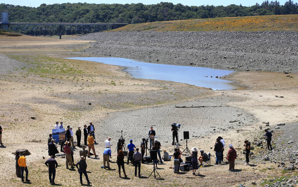 parched Lake Mendocino basin on 21 April 2021, photo credit Kent Porter of The Press Democrat