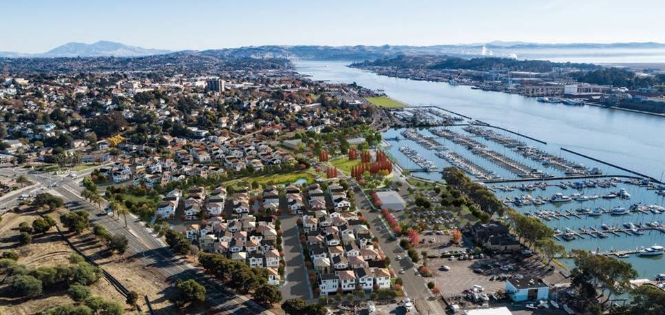 The Mariner's Cove project on the Vallejo waterfront, seen in this south-looking composite aerial photo and architectural rendering, is planned to have 175 homes on 28 acres. (courtesy of Gates + Associates)