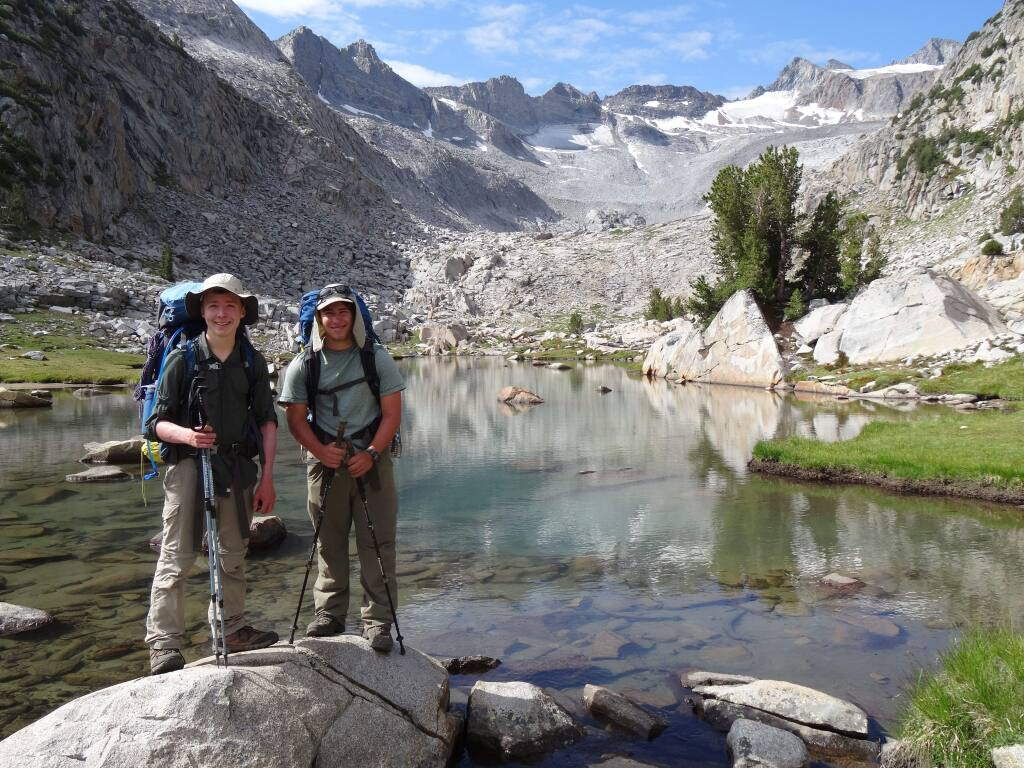 Tucker Cullen, left and a hiking companion below the Donahue Pass on the John Muir Trail. (COURTESY TUCKER CULLEN)