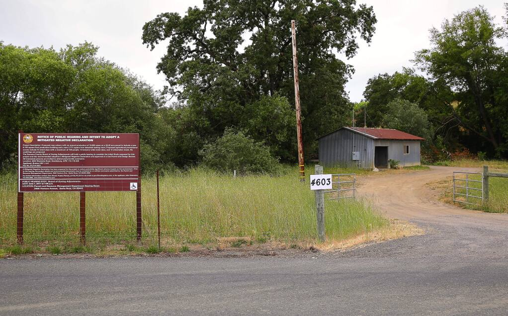 A public notice sign informs the community of the Broken Hill 1, LLC, proposal to build a winery on the 26.2 acre parcel, which will include an 8165 square foot production building and seperate 2171 square foot tasting room, at 4603 Westside Road, near Healdsburg. The winery is intended to produce 10,000 cases per year and host numerous event days.(Christopher Chung/ The Press Democrat)