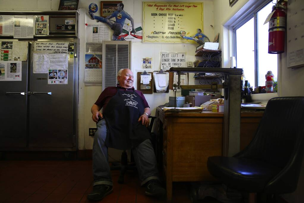 Art Ibleto at his Pasta King compound in Cotati not long before his 90th birthday in 2016. (Christopher Chung / The Press Democrat)