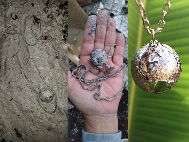 Janae Farmiloe's golden globe pendant was recovered from her fire-destroyed home, and then restored by E.R. Sawyer Jewelers in Santa Rosa. The necklace had been inherited from Farmiloe's late grandmother. (Courtesy Photo)