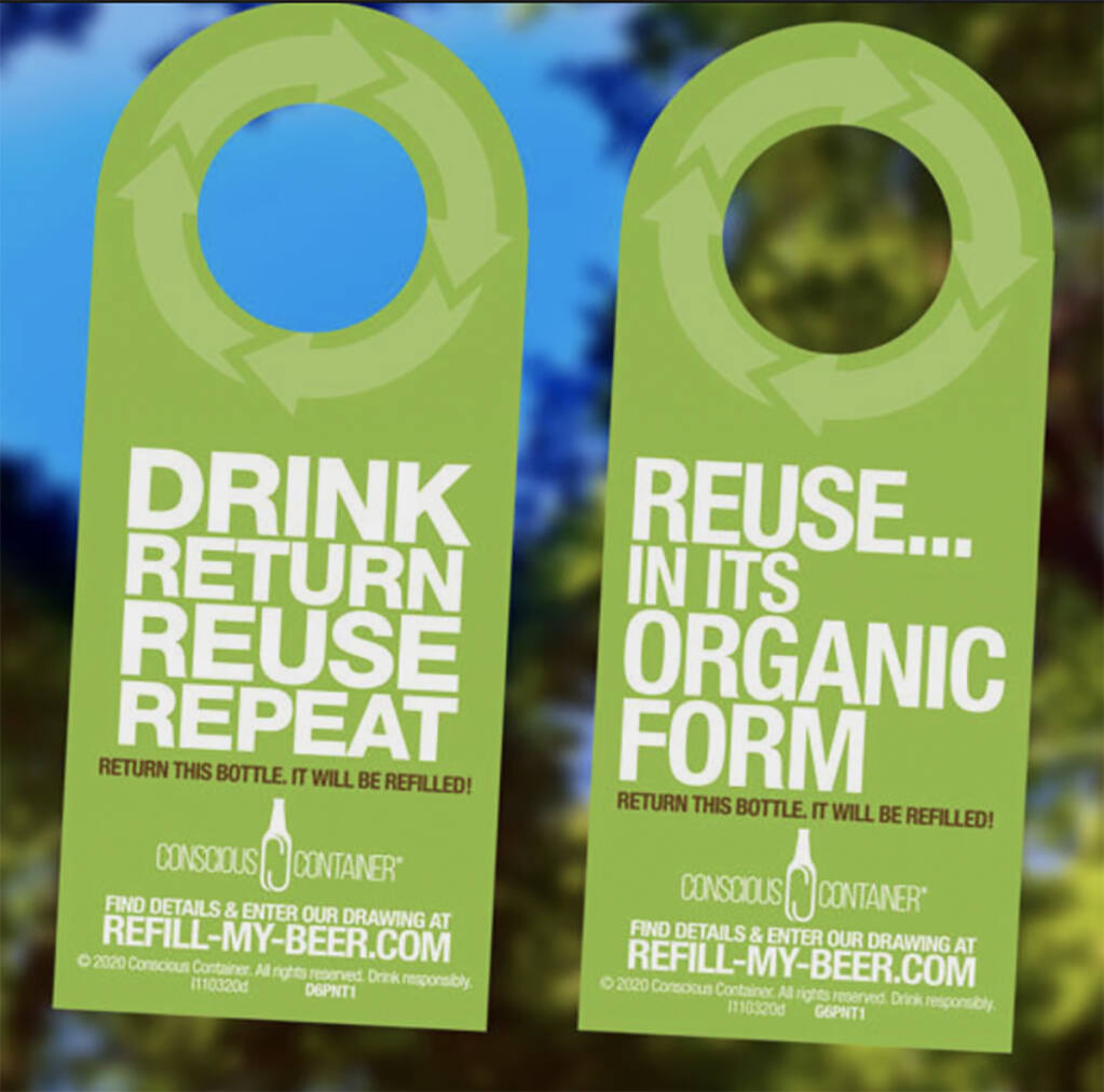 return the empty bottles to Conscious Container's touch-free bins located in one of seven participating locations in Sonoma and Marin County listed on bottle neck tags