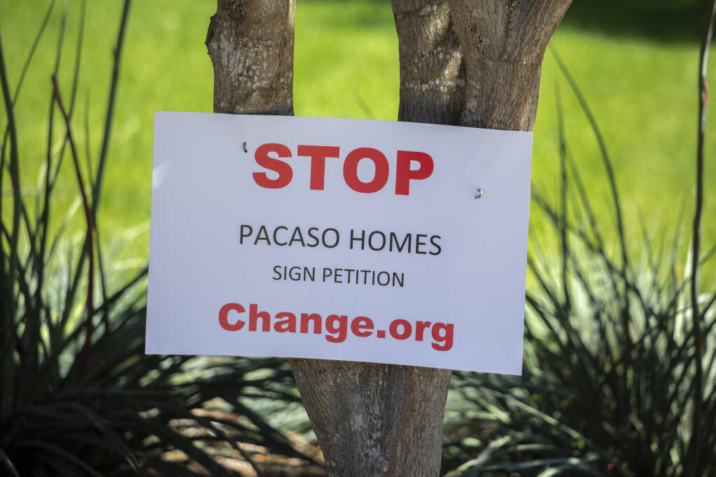 Pacaso, a new shared home-ownership company, has purchased a home on Old Winery Court in Sonoma. The neighbors are not happy, as evidenced by signs displayed at virtually very home on the court, on Thursday, May 20, 2021. (Photo by Robbi Pengelly/Index-Tribune)