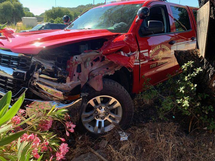 A Sonoma County Fire District truck left unattended Thursday was stolen and crashed outside of Healdsburg. (Healdsburg Police Department)