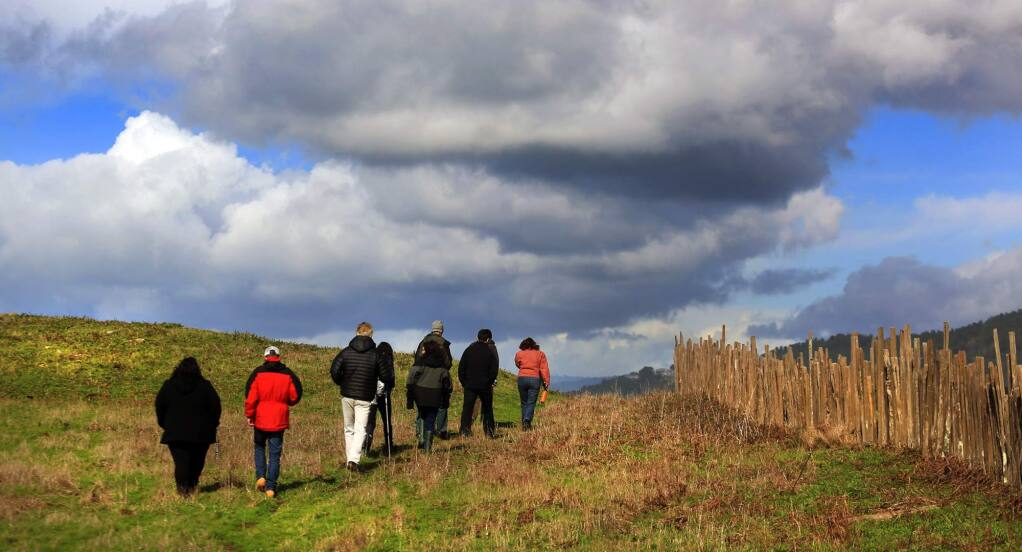 Officials with the Save the Redwoods League and the Sonoma County Agricultural Preservation and Open Space District tour Stewarts Point Ranch, Wednesday Feb. 22, 2017. (Kent Porter / The Press Democrat) 2017