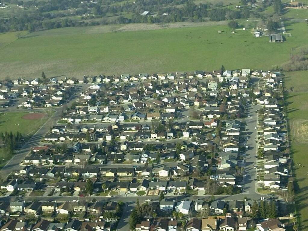 (File photo) Open space surrounding housing developments in northwest Rohnert Park provides a community separator between the Rohnert Park and Santa Rosa.