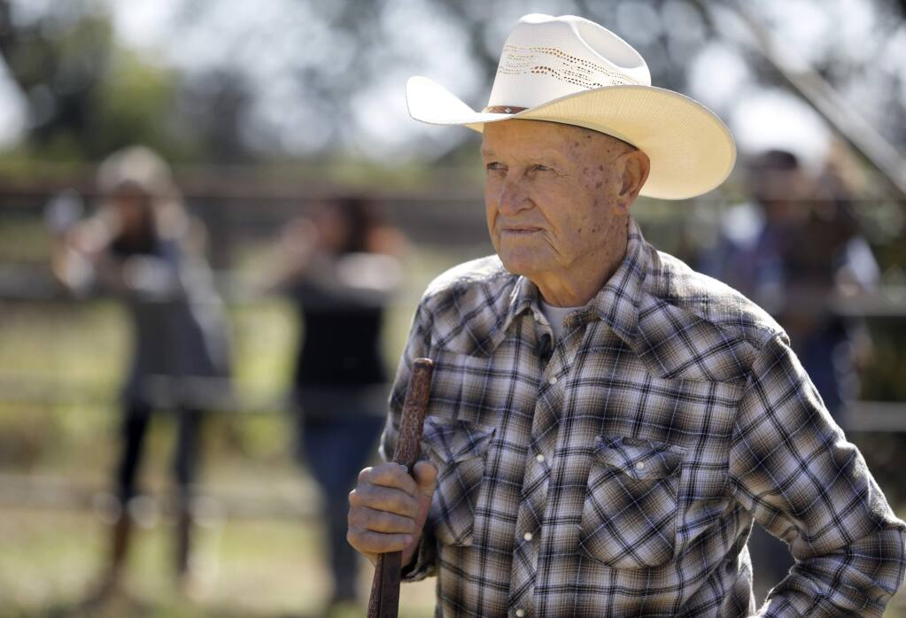 Glyn Evans looks on as Angel, a Texas longhorn, returns to his family's 2-acre property north of Coffey Park in Santa Rosa on Sunday, October 14, 2018. (Beth Schlanker/ The Press Democrat)