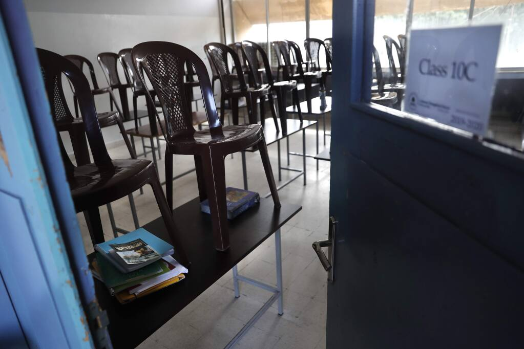 Classrooms in Sonoma County will be empty for at least the first weeks of the 2020-2021 school year. (AP Photo/Hussein Malla)