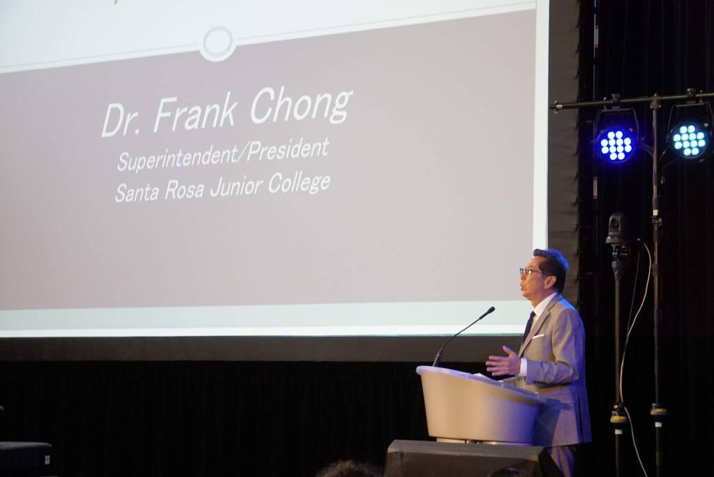 Opening remarks by Dr. Frank Chong, Superintendent/President, of the Santa Rosa Junior College at the 8th Annual SRJC Community Breakfast held on June 6, 2019 at the SRJC Petaluma Campus. JIM JOHNSON for the ARGUS COURIER.