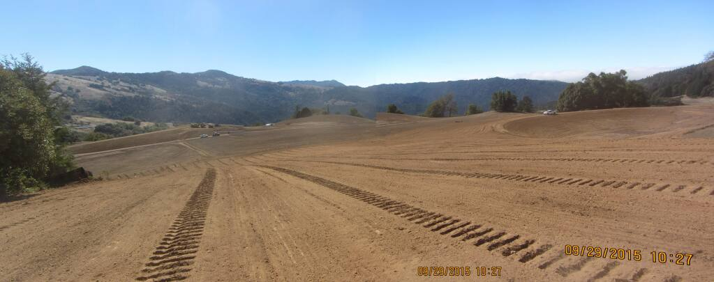 A closer look at grading work done at a vineyard in Mendocino County. The un-permitted work, which covered a protected wetland, will cost Rhys Vineyards $3.76 million in penalties from state agencies. (State Water Resources Control Board, Division of Water Rights).