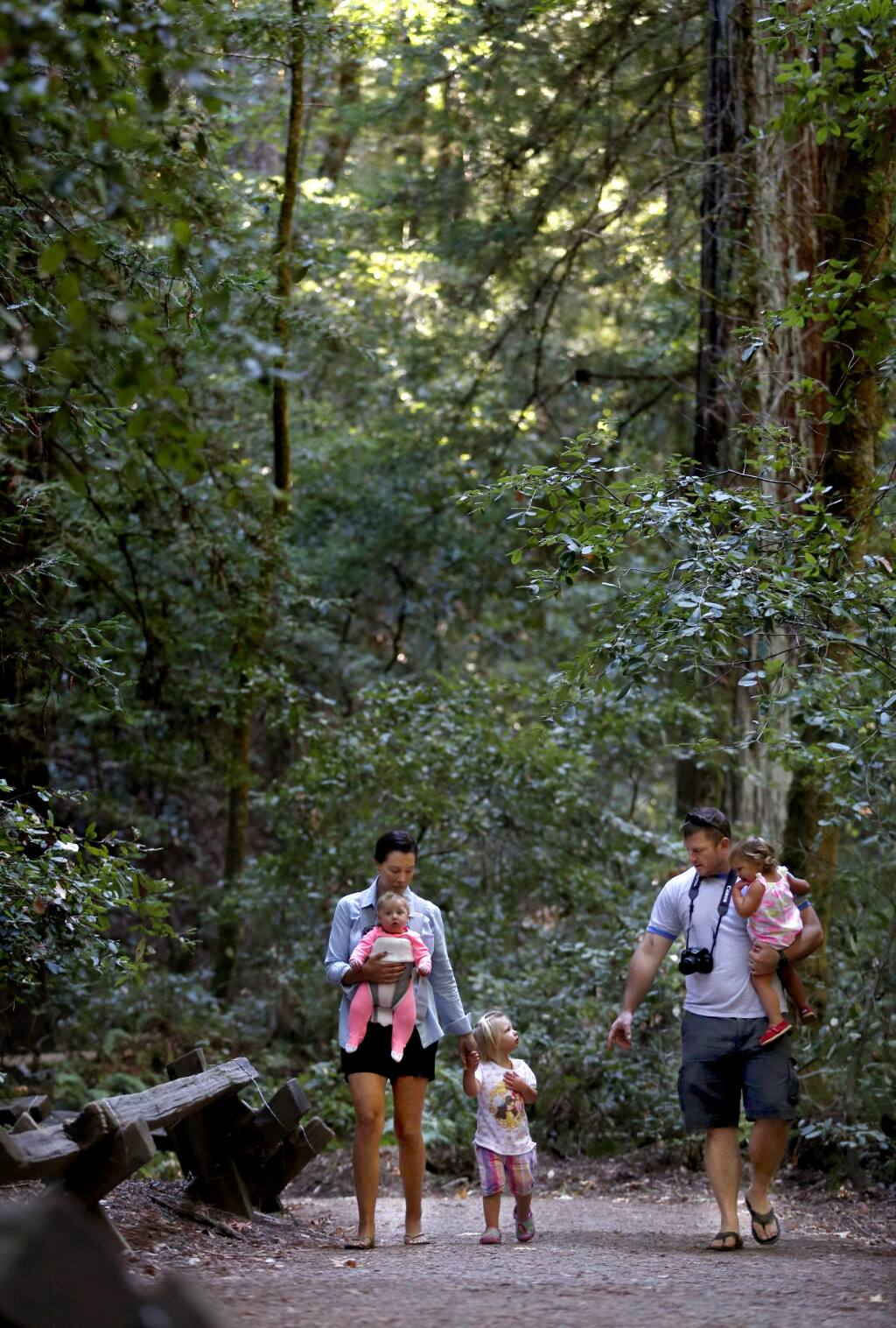 Kelly Norris, her husband, Bryan, and their three daughters Laila, 2, center, Kinley, 1, right, and Hannah, 6-months, walk together at Armstrong Woods State Natural Reserve in Guerneville, California on Sunday, October 5, 2014. (BETH SCHLANKER/ The Press Democrat)