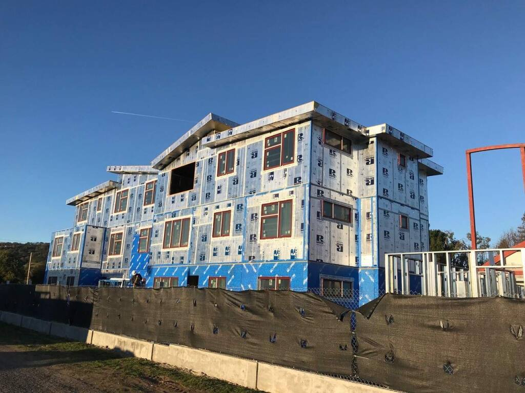 The 48-unit Napa Creek Village condo-style housing development in Napa was built with light-gauge steel panels framed in a south Napa factory. (HEALTHY BUILDINGS USA) 2018