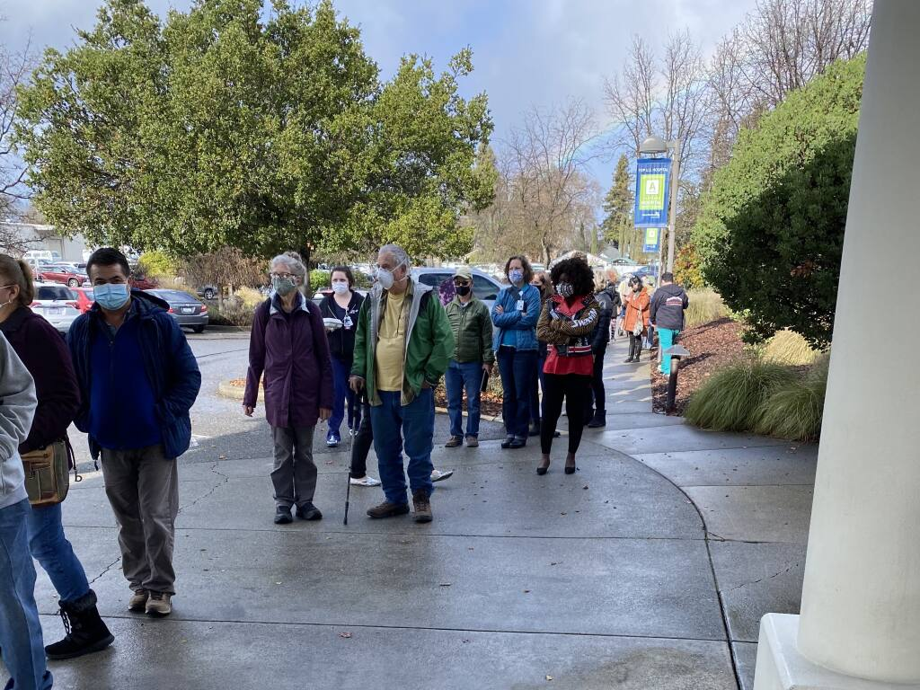 People line up for doses of the Moderna coronavirus vaccine at Ukiah Valley Medical Center on Monday, Jan. 4, 2021, after a freezer holding 830 doses failed. (Adventist Health)