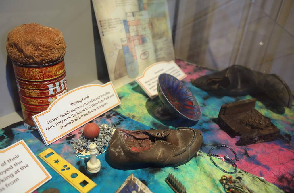 A variety of items from the Grateful Dead, and 'The Chosen Family' commune, recovered after fire destroyed the Burdell Mansion are on display in the visitors center at Olompali State Historic park.(Christopher Chung/ The Press Democrat)