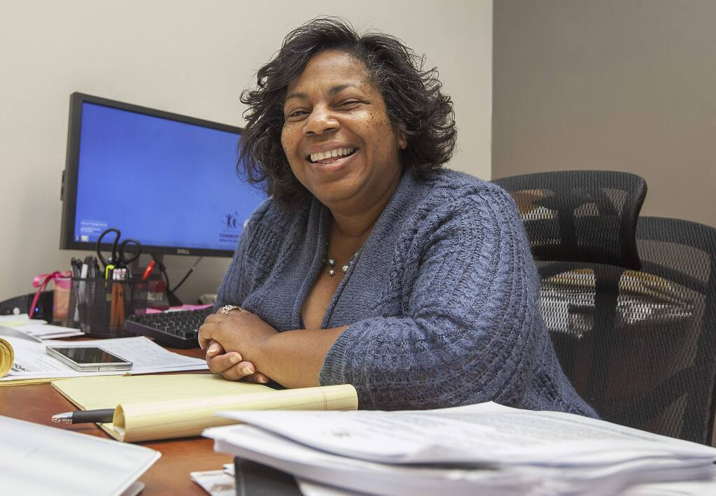 Cheryl Johnson, CEO of the Sonoma Valley Community Health Center, in her office. (Photo by Robbi Pengelly/Index-Tribune)