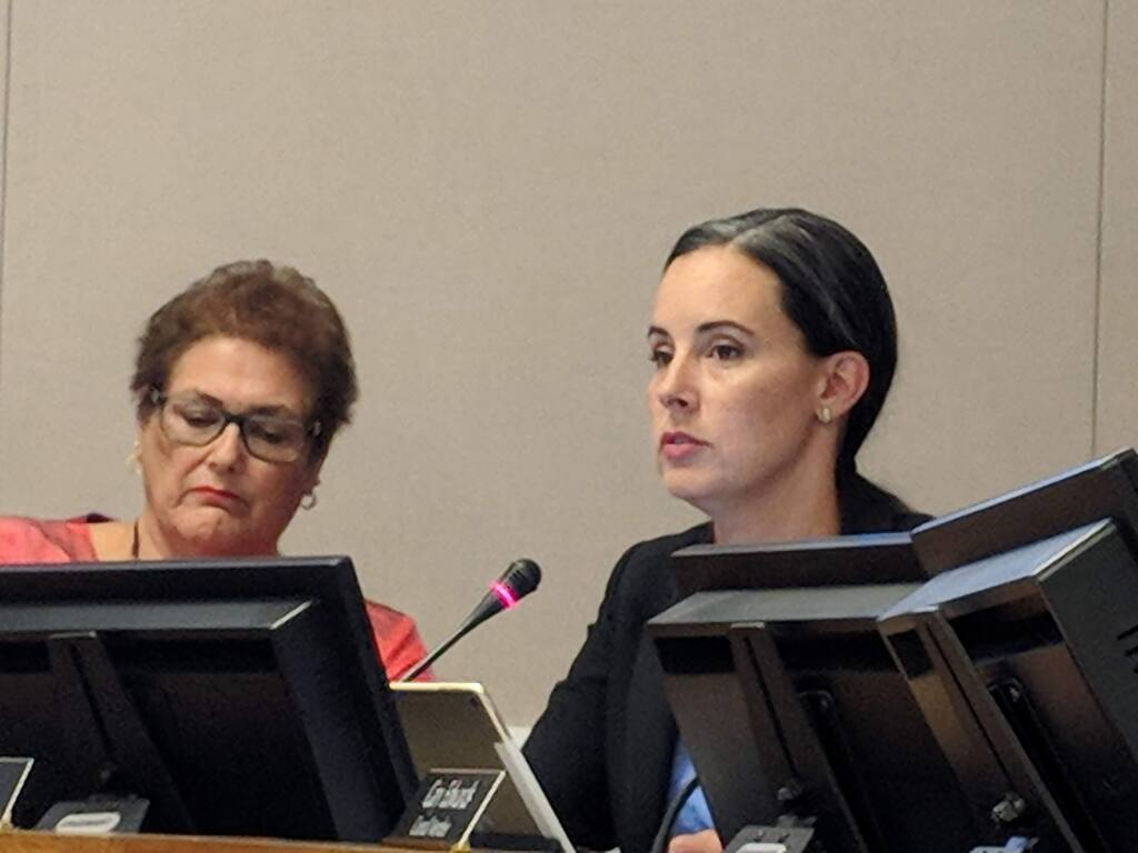 Sonoma Mayor Madolyn Agrimonti, left, and Councilwoman Rachel Hundley listen to public comment on a proposed cannabis business ballot measure on Monday, July 23, 2018. (GUY KOVNER/Press Democrat)
