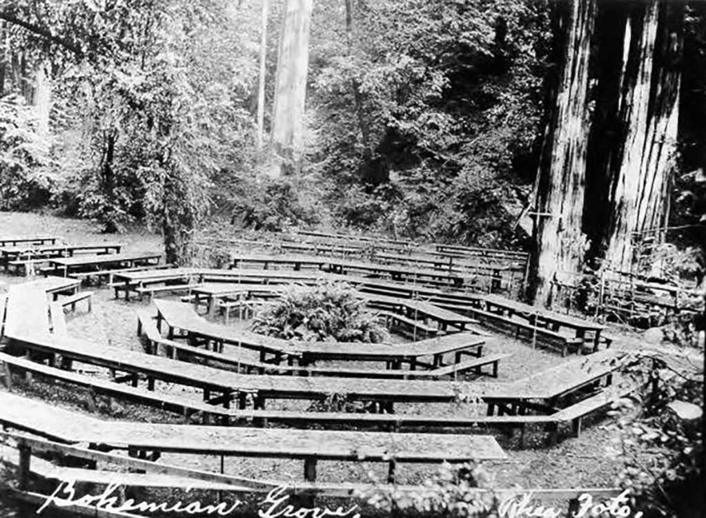 Tables are arranged in a circle in grove of trees at Bohemian Grove in 1907. (Courtesy of the Sonoma County Library)