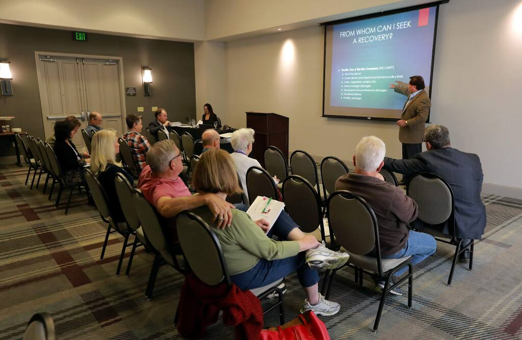 Lawyer Robert Jackson conducts a wildfire lawsuit workshop at the Hyatt Regency Sonoma Wine Country hotel on Saturday, November 4, 2017. (photo by John Burgess/The Press Democrat)