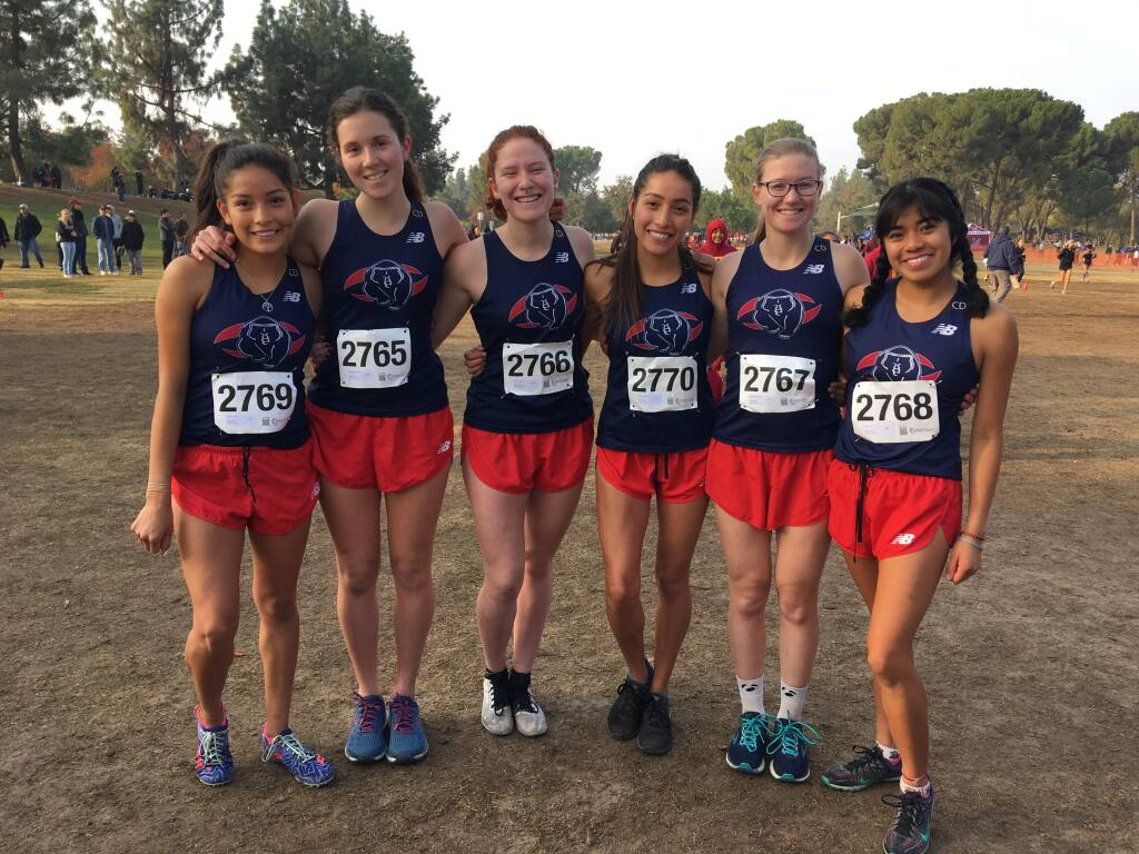 The SRJC women's cross country team after their 13th-place finish at the state championships on Saturday, Nov. 17.
