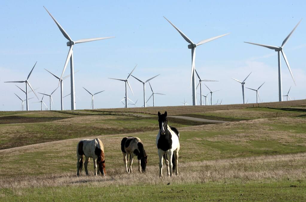 Wind generators near Rio Vista in eastern Solano County (The Press Democrat)