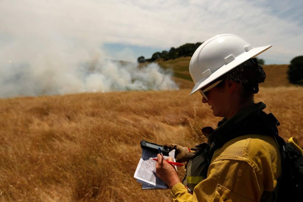 Pepperwood Preserve ecologist Michelle Halbur, records data during a 7-acre prescribed burn at Pepperwood Preserve in Santa Rosa, California on Friday, June 10, 2016. (Alvin Jornada / The Press Democrat)