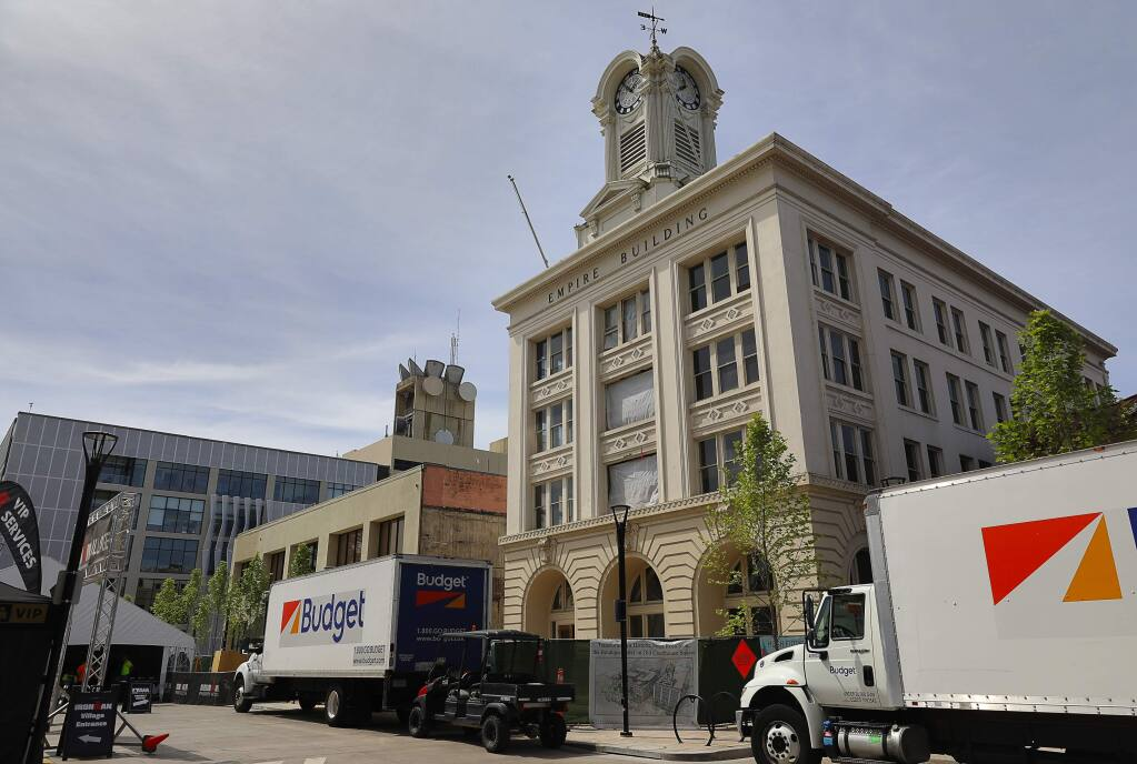 Construction continues on The Boutique Hotel on Old Courthouse Square, in Santa Rosa on Thursday, May 10, 2018. The hotel is scheduled to open in 2018.(Christopher Chung/ The Press Democrat)