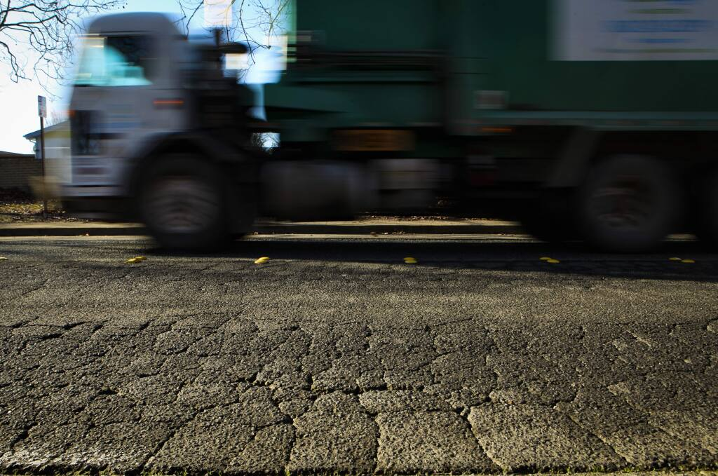 Petaluma, CA, USA. Monday, January 13, 2020._ The roads on Maria Drive from Sonoma Mountain Parkway to Rainier will soon be repaved.(CRISSY PASCUAL/ARGUS-COURIER STAFF)