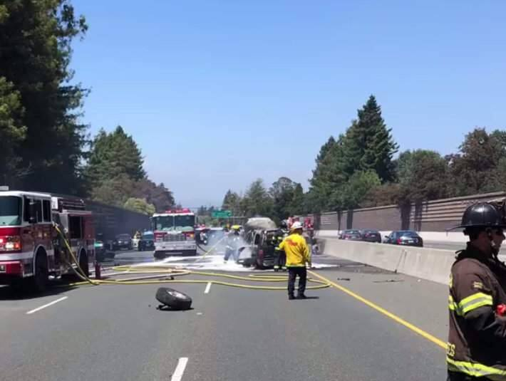 A fiery crash shut down Highway 101 near Cotati for more than an hour on Sunday, June 17, 2018. (RANCHO COTATE FIRE)