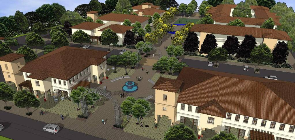 Artist's rendering of Burbank Housing's proposal for the Roseland Village mixed-use project in Santa Rosa.