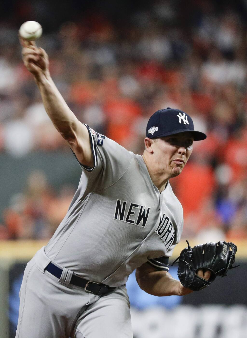New York Yankees starting pitcher Chad Green throws against the Houston Astros during the first inning in Game 6 of baseball's American League Championship Series Saturday, Oct. 19, 2019, in Houston. (AP Photo/Eric Gay)