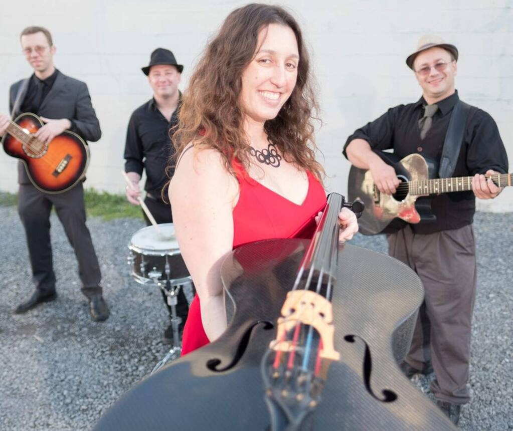 Rebecca Roudman leads the San Francisco bluegrass four-piece string band Dirty Cello. Roudman plays the cello and sings with guitarist Jason Eckl, bassist Colin Williams, drummer Ben Wallace-Ailsworth and ukulele player and pianist Sandy Lindop. (J. Mijares)