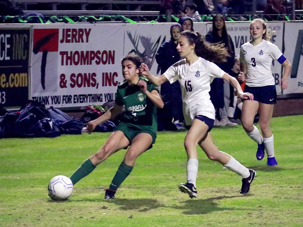 Dragon girls soccer team in acion at Arnold Field, Sonoma Valley vs. Justin-Siena, Feb. 7, 2019. (Christian Kallen/index-Tribune)