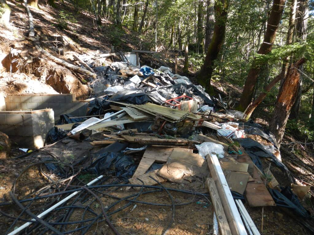Household trash and garbage from a marijuana grow was photographed during a recent inspection of the Eel River watershed along Sproul Creek. (CA Department of Fish and Wildlife)