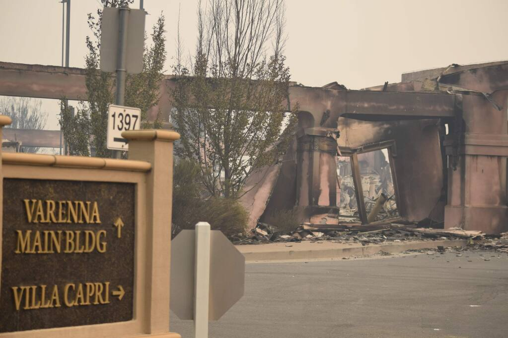 Villa Capri's main structure was demolished by fire, but residential structures farther back in the site survived the flames. (James Dunn / North Bay Business Journal)