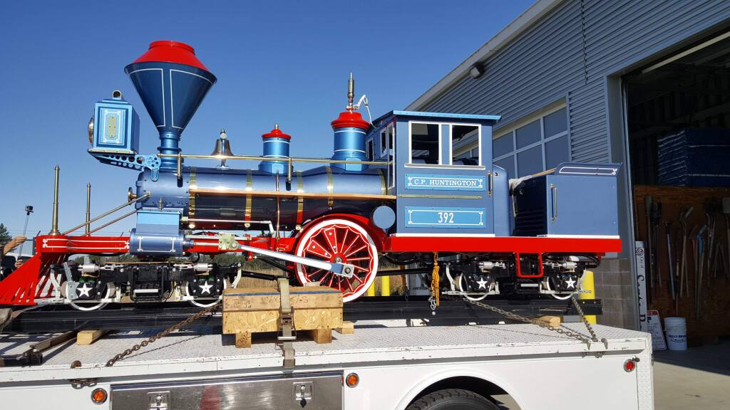 A new locomotive, Engine No. 392, arrived Thursday at Santa Rosa's corporation yard. It will replace the old one at Howarth Park. (Derek Moore/ Press Democrat)