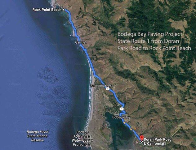 This map shows the area where Highway 1 is being repaved along the Sonoma County coast. Work recently began and is scheduled to last through mid-October 2021.